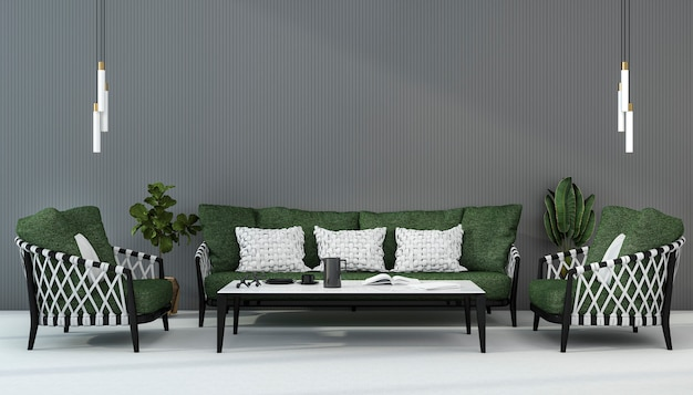 3d rendering scandinavian green sofa in living room with armchair
