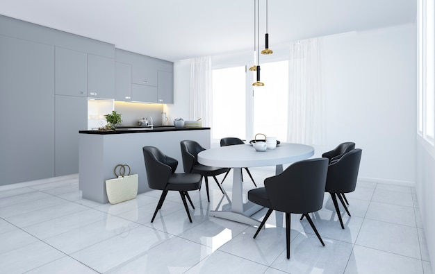 3d rendering scandinavian vintage modern minimal kitchen with white dining area