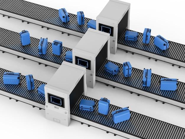 Сканер 3d-рендеринга сканирует багаж в аэропорту