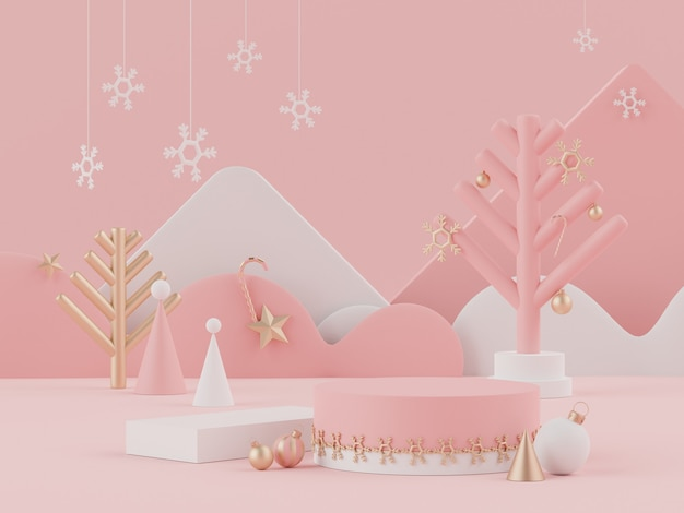 모의를위한 디스플레이 연단 또는 받침대가있는 크리스마스 휴가의 3d 렌더링 장면