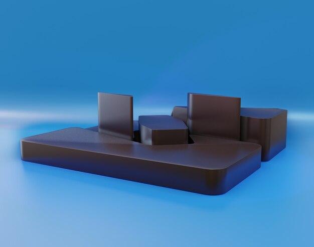 연단 또는 추상 무대의 3d 렌더링 장면
