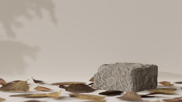 3d 렌더링, 기하학적 모양이있는 장면, 바닥에 장식 된 말린 잎으로 제품을 배치하기위한 돌 연단, 3d 일러스트