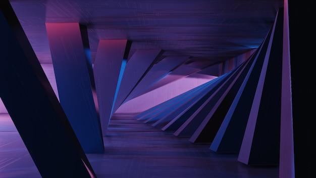 3d представляя интерьер научной фантастики, простые геометрические формы. футуристический металлический абстрактный фон, неоновый свет.