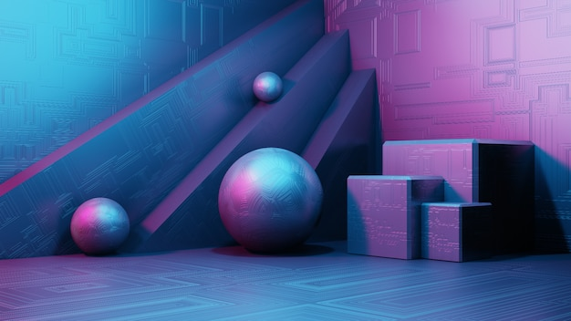 3d 렌더링 공상 과학 인테리어, 간단한 기하학적 인 도형. 환상적인 외계인 도시의 풍경. 미래 금속 추상 배경, 네온 빛입니다. 현대 연단 개념입니다.
