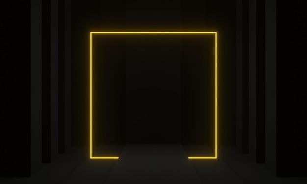 노란색 네온 프레임 3d 렌더링 공상 과학 무대