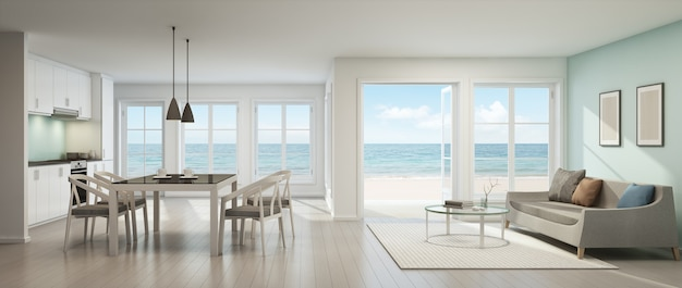 3d rendering of sea view living room, dining room and kitchen in beach house.
