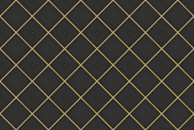3d rendering. seamless modern luxurious golden square grid pattern wall background.