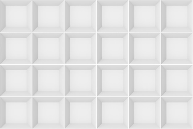 3d rendering. seamless modern white gray square grid pattern wall design texture background.