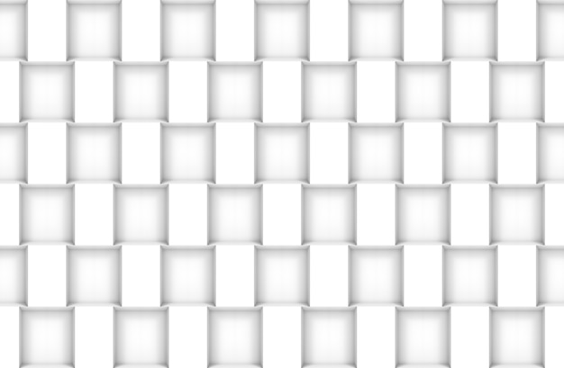 3d rendering. seamless modern white square box pattern wall design texture background.