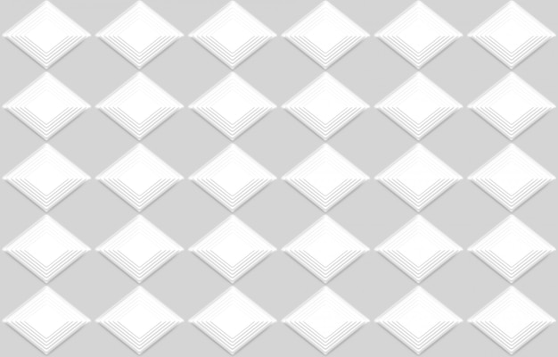 3d rendering. seamless modern white square grid design wall art background.