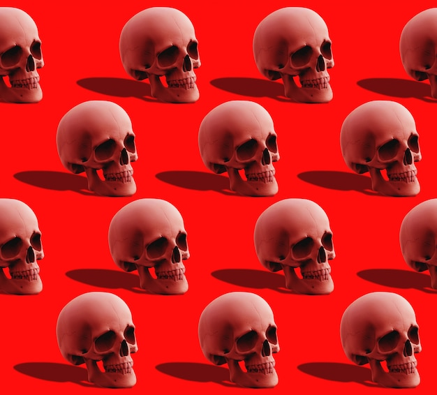 3d rendering. seamless red human head skull bone pattern on red .