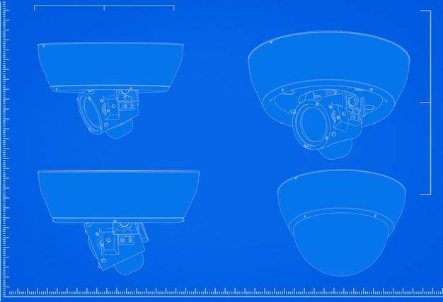 青い背景にスケールで3dレンダリングセキュリティカメラの青写真
