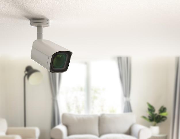 3d-рендеринг камеры безопасности или камеры видеонаблюдения в доме