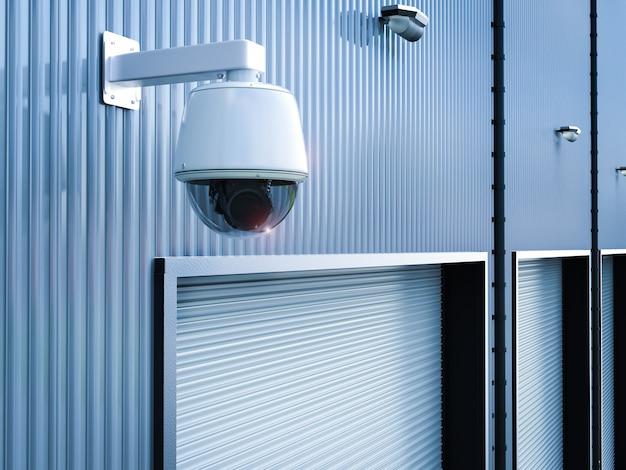 3d-рендеринг камеры безопасности или камеры видеонаблюдения на складе