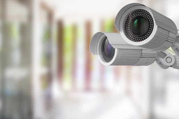 3d-рендеринг камеры безопасности или камеры видеонаблюдения в помещении