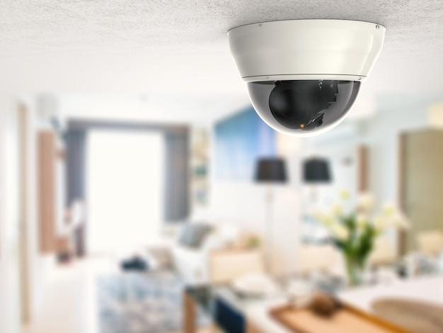 3d-рендеринг камеры безопасности или камеры видеонаблюдения на потолке