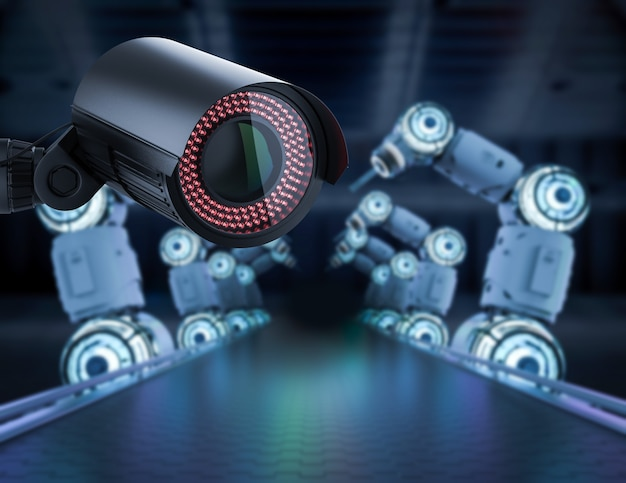 공장에서 3d 렌더링 보안 카메라 또는 감시 카메라