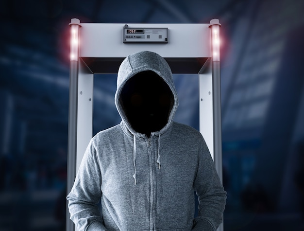 3d rendering security gate alert with empty face man walk through