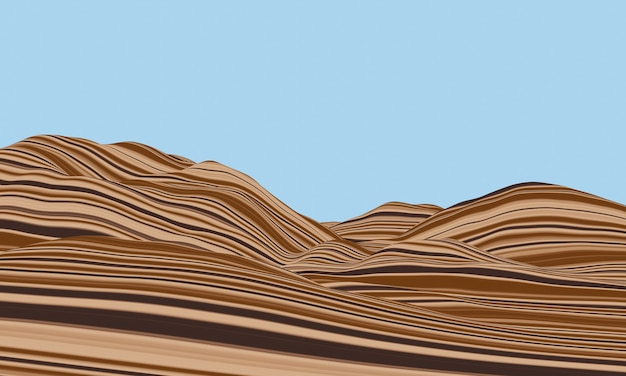 3dレンダリング。堆積山。層状の地形領域。変形岩。 Premium写真