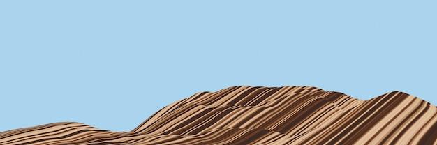 3dレンダリング。堆積山。層状の地形領域。変形岩。