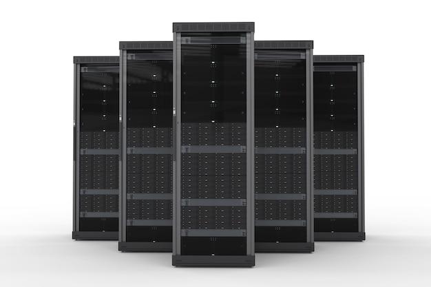 白い背景の上の3dレンダリングサーバーコンピュータークラスター
