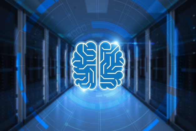 회로 두뇌와 3d 렌더링 서버 컴퓨터