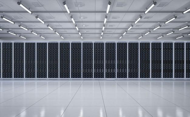 3dレンダリングサーバールームまたはデータセンター