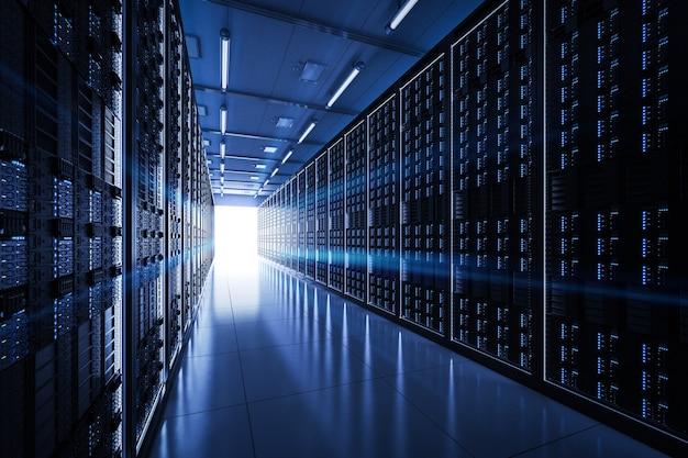 3d рендеринг серверной комнаты или дата-центра
