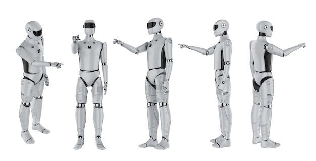 白で隔離される人工知能サイボーグまたはロボットの指先の3dレンダリングセット
