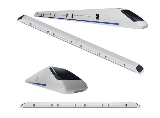 Набор 3d-рендеринга высокоскоростного поезда с современным дизайном, изолированным на белом