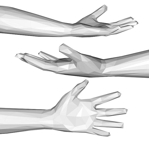 흰색 절연 다각형 손의 3d 렌더링 세트