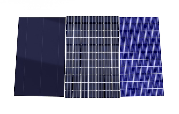 3d-рендеринг нескольких типов солнечных панелей, изолированных на белом фоне, монокристаллических, поликристаллических, тонкопленочных фотоэлектрических элементов, вырабатывающих электричество