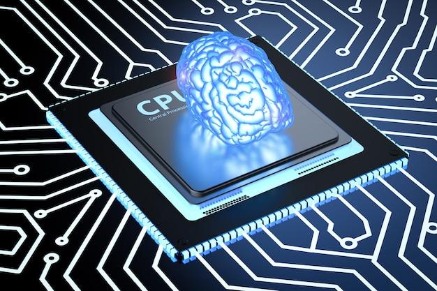 회로 기판에 3d 렌더링 빛나는 파란색 두뇌