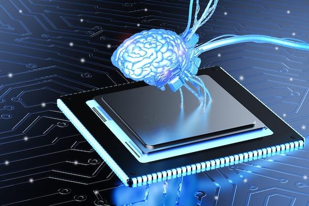 Cpu 칩에 3d 렌더링 빛나는 파란색 두뇌