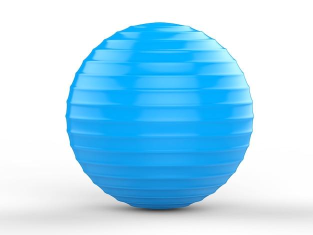 3d rendering shiny blue fitness ball