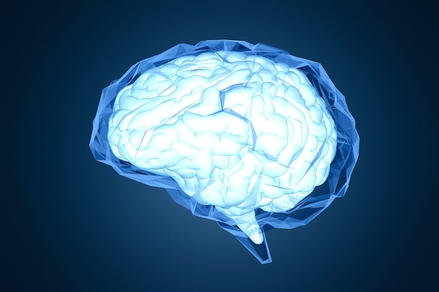 3d rendering shiny blue polygonal brain on dark blue background