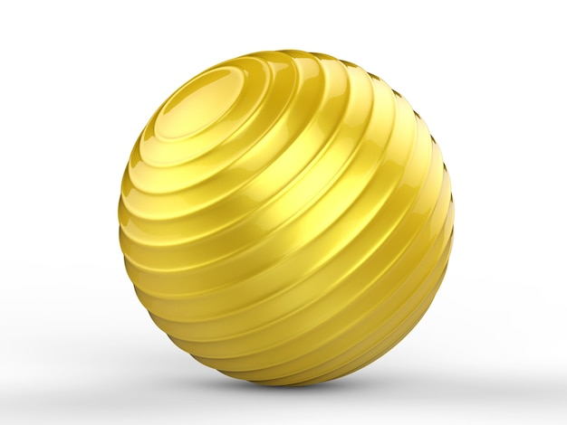 3d rendering shiny gold fitness ball