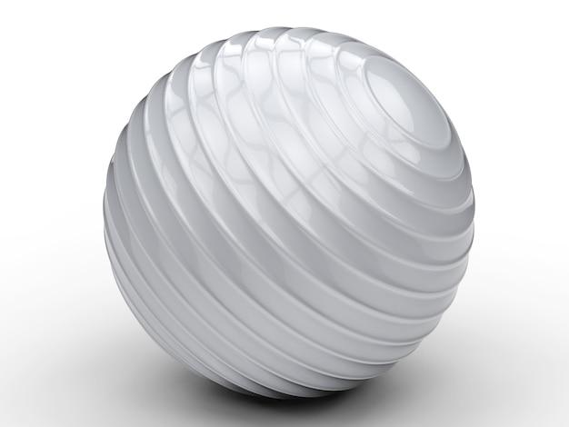 3d rendering shiny grey fitness ball
