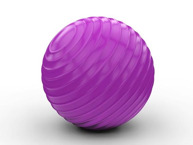 3d rendering shiny purple fitness ball