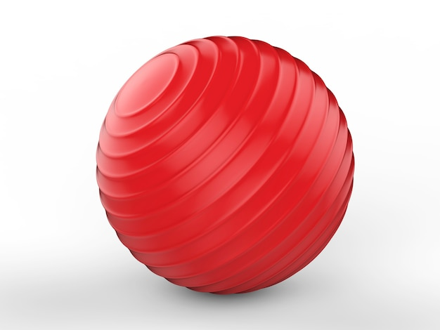 3d rendering shiny red fitness ball