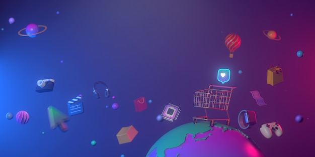 3d rendering of shoping cart and minimal earth.