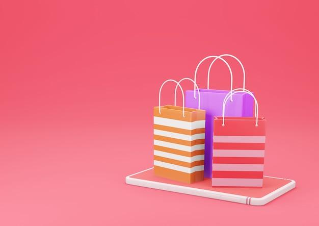 빨간색 배경에 스마트 폰에 3d 렌더링 쇼핑 가방. 온라인 쇼핑 및 전자 상거래 개념.