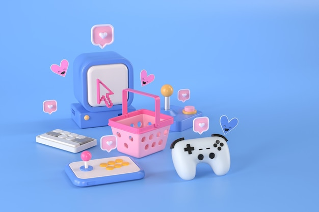 3d rendering of shopping basket and game computer.