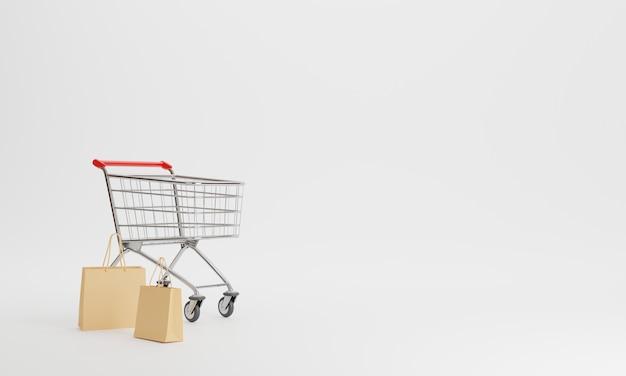 3d 렌더링 쇼핑 카트 및 쇼핑 가방 절연 프리미엄 사진