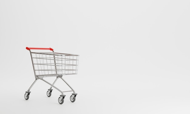 3d rendering shopping cart  isolated
