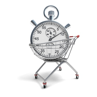 3d rendering of a shopping cart with a stopwatch inside
