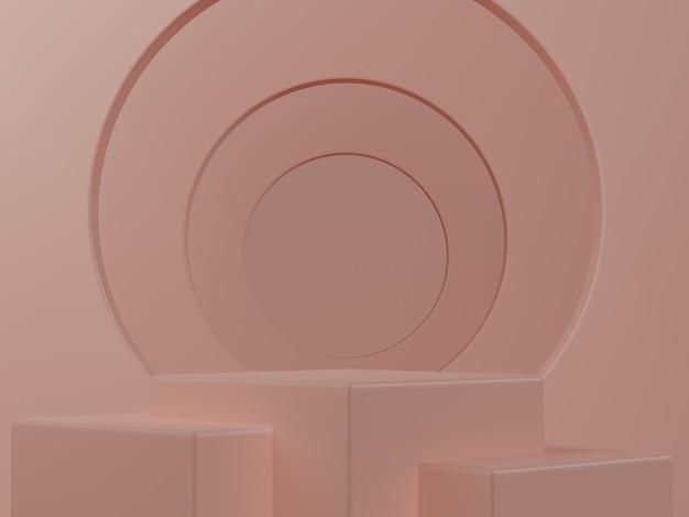 3d 렌더링. 화장품, 빈 장면을 보여줍니다. 파스텔 핑크 최소한의 벽. 패션 쇼케이스, 진열장.