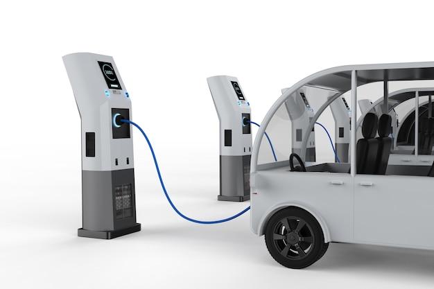 Зарядка автобуса с электрической зарядной станцией 3d-рендеринга