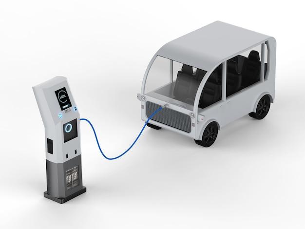 3d рендеринг шаттла заряжается от электрической зарядной станции
