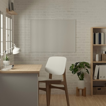 3d rendering, side view of home office room with worktable, book shelf, decorations and chair, 3d illustration
